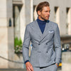 blue double breasted pied de poule suit made in italy blue turtlenek