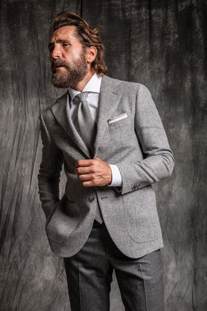 full gray look made in italy grey trousers and grey herringbone jacket