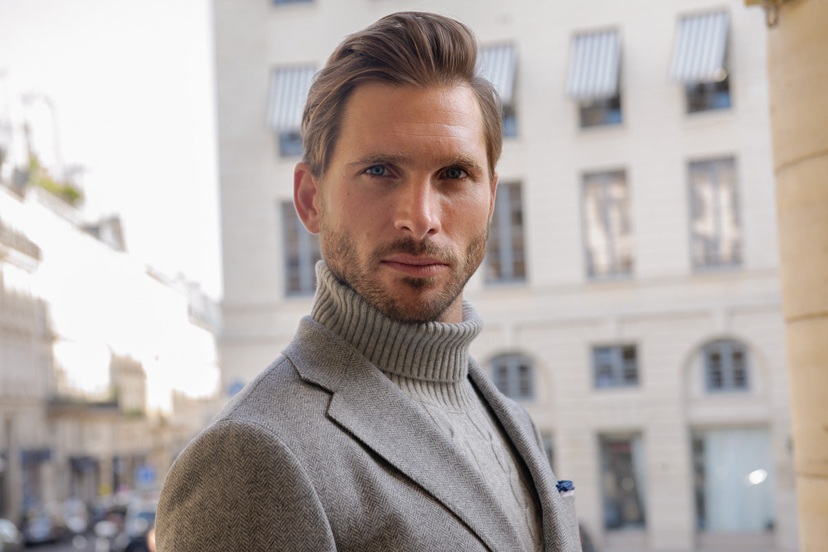 herringbone jacket made in italy with grey turtlenek wool and chasmere