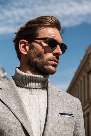 Pini Parma grey herringbone jacket made in italy barcheta pocket and neapolitan shoulder, turtlenek wool and cashmere