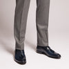 light grey flannel trousers made in italy semi slim cut