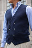 Blue Double-Breasted Merino Wool Knitted Waistcoat - Made in Italy