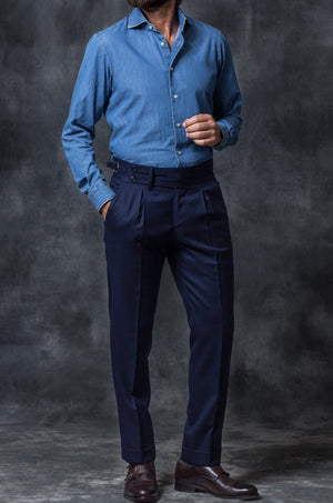 Blue Flannel Trousers Limited Edition gurkha bespoke trouser