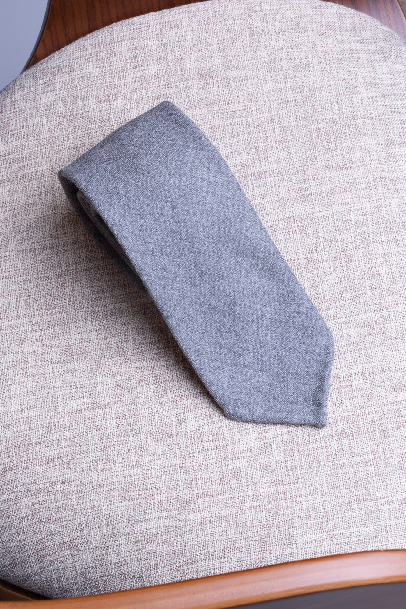 Grey flannel tie - Hand Made In Italy