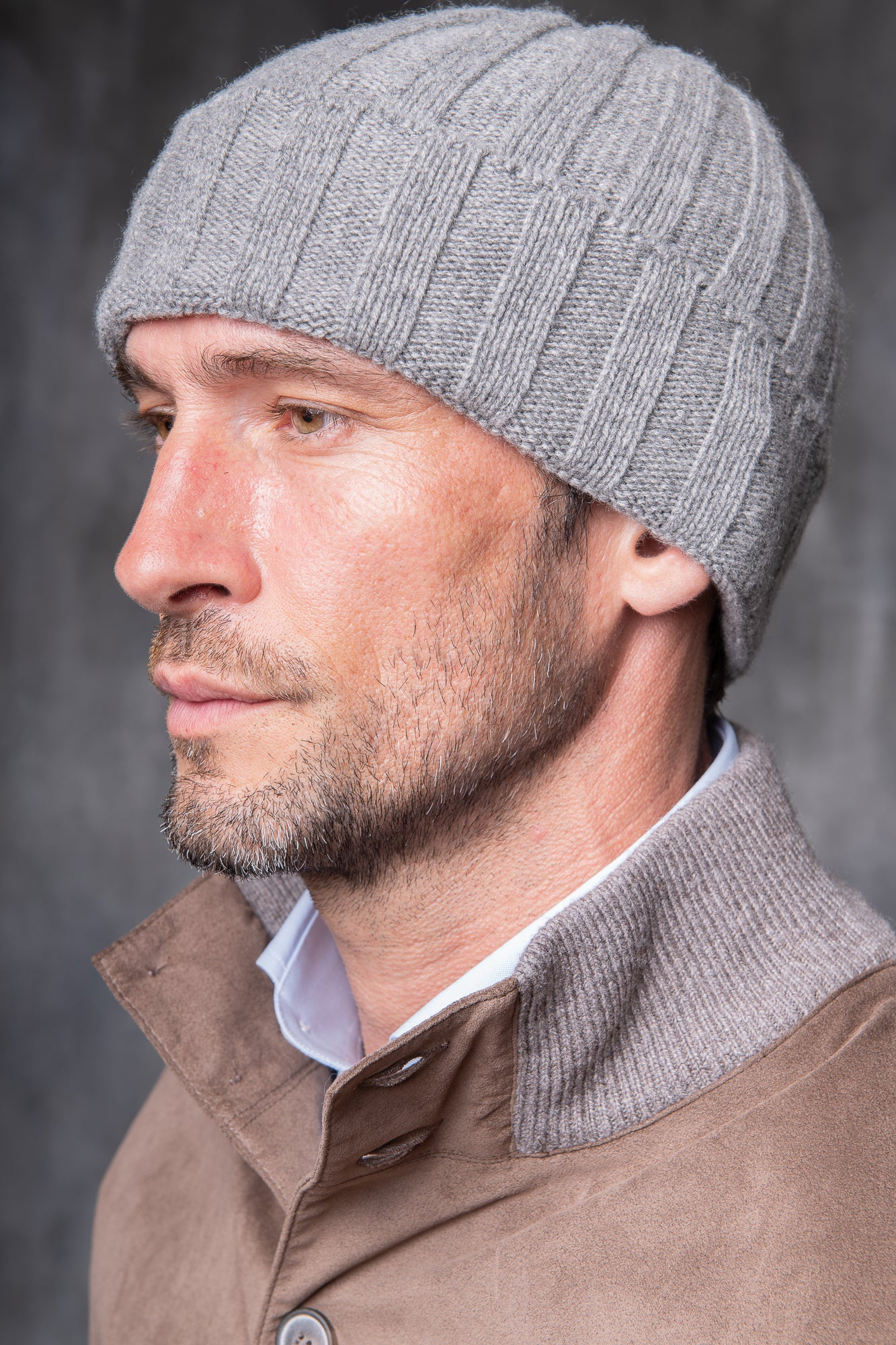 Grey Cashmere rib knit beanie - Made in Italy