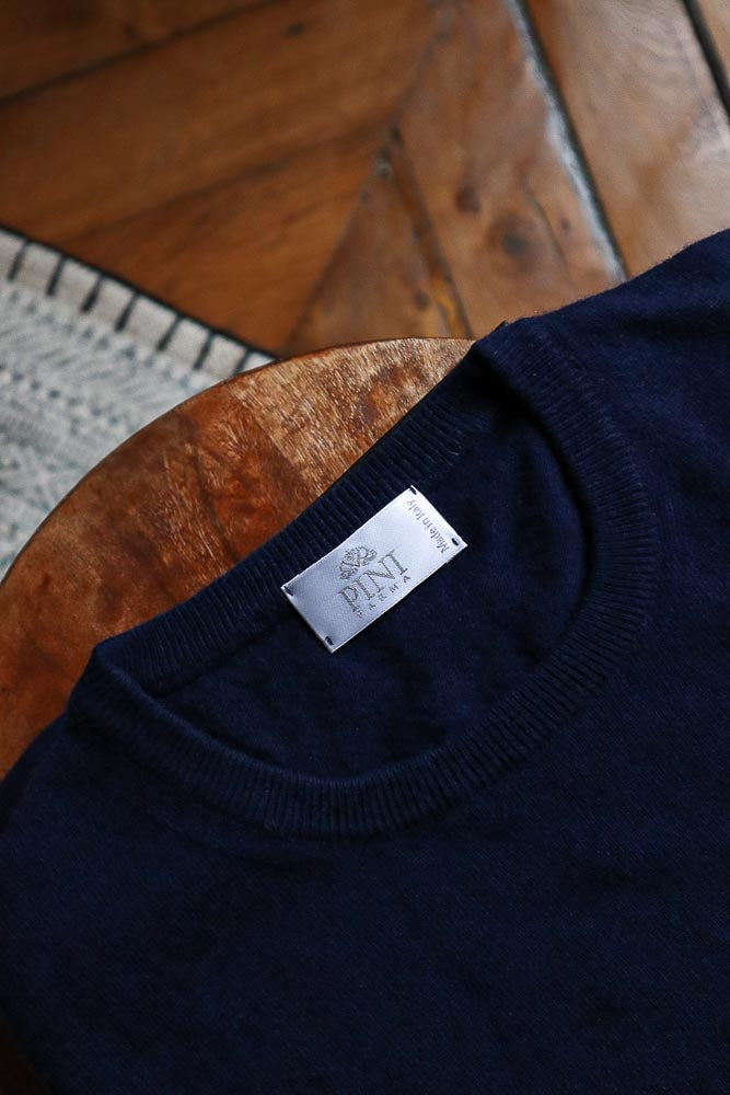 Blue round neck wool and cashmere Made in Italy