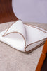 White linen pocket square with taupe and beige edges  - Made in Italy