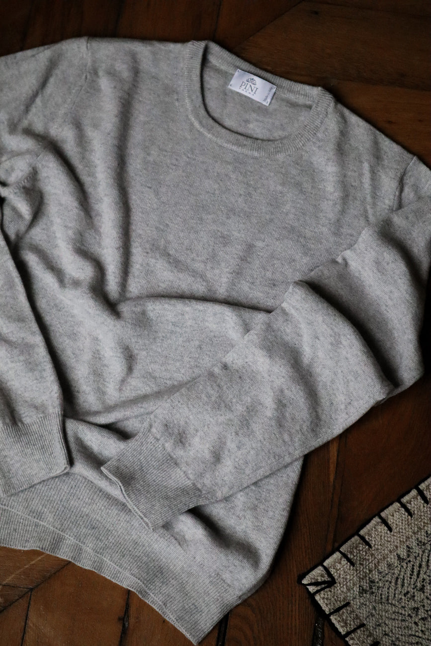 Grey round neck wool and cashmere Made in Italy