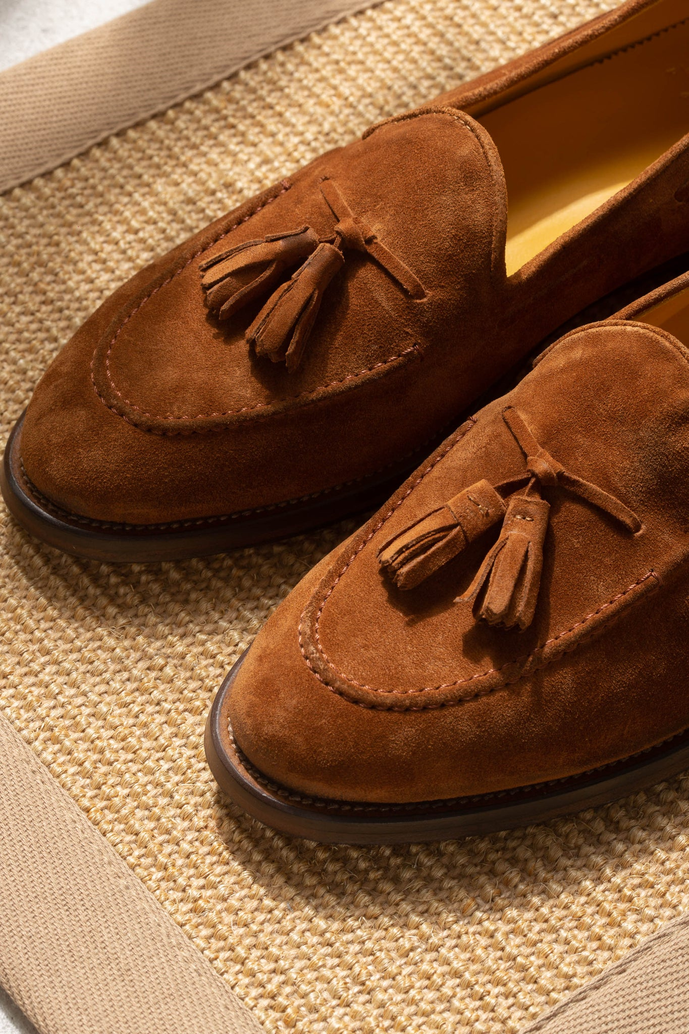 COGNAC SUEDE TASSEL LOAFER - Made In Italy