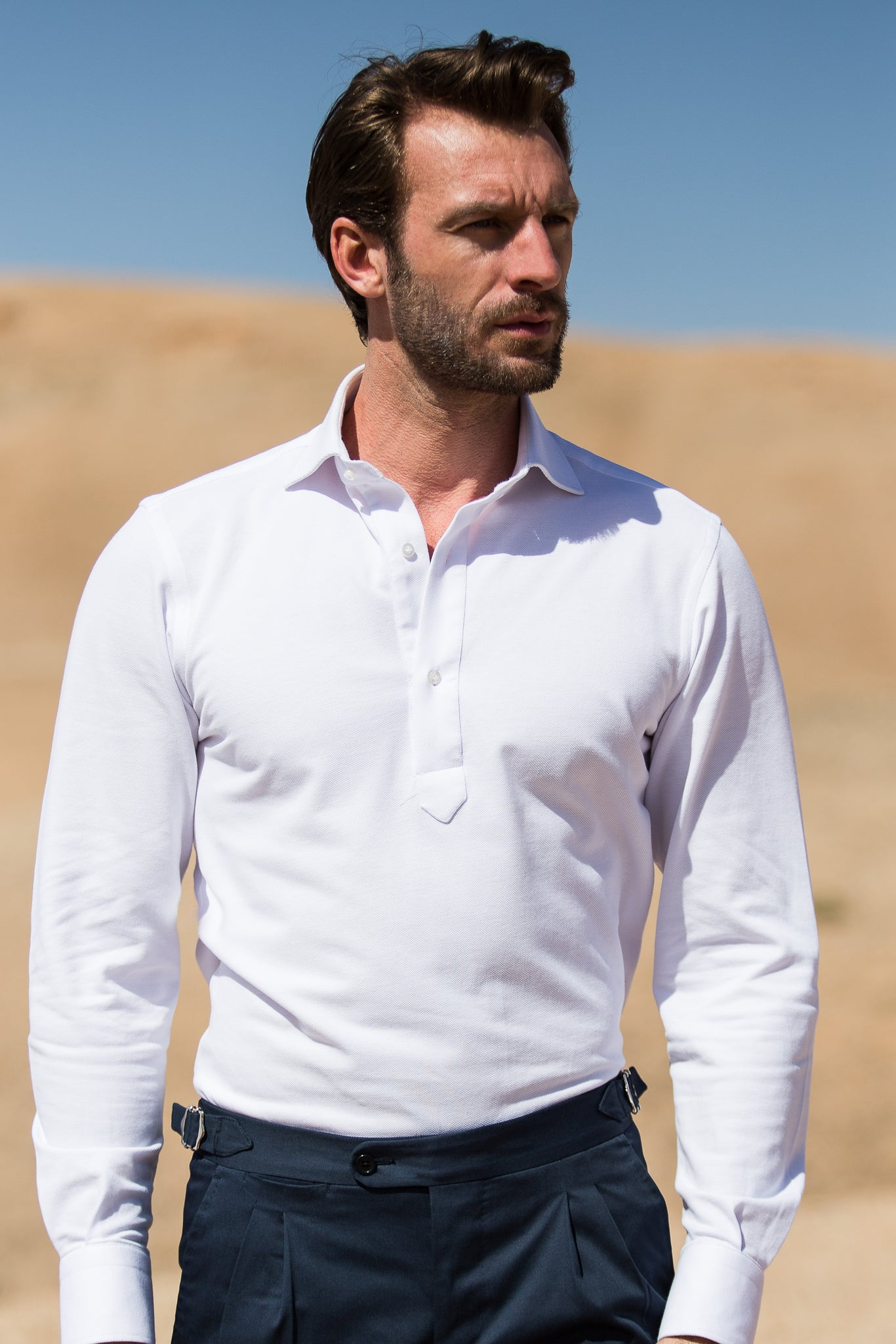 White popover polo shirt - Made in Italy