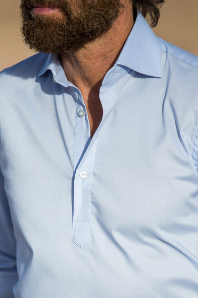 LIGHT BLUE POPOVER SHIRT - Made in Italy