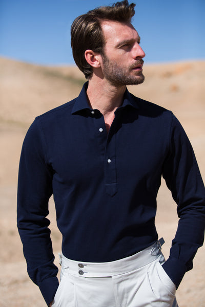 BLUE POPOVER POLO SHIRT - Made in Italy