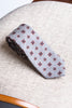 Grey tie with cognac flower - Hand Made In Italy