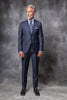 BLUE AVIO FULL CANVAS SUIT IN LORO PIANA WOOL - Made in Italy