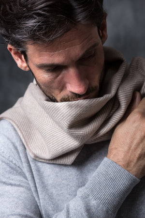 BEIGE HERRINGBONE SCARF - Made in Italy