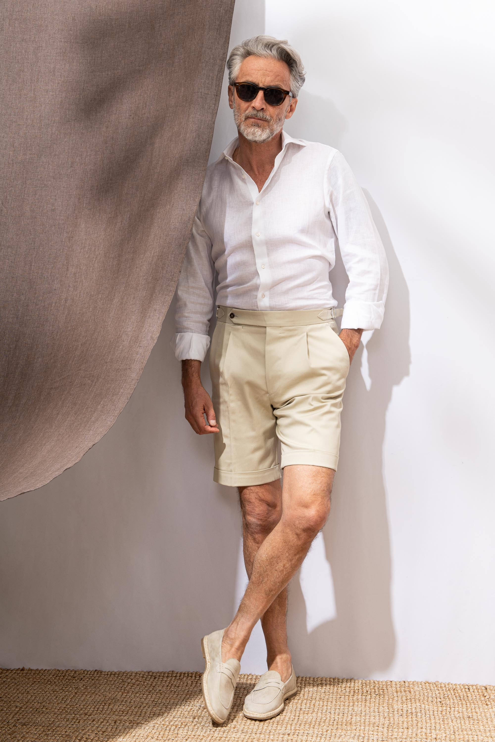Beige cotton shorts - Made in Italy