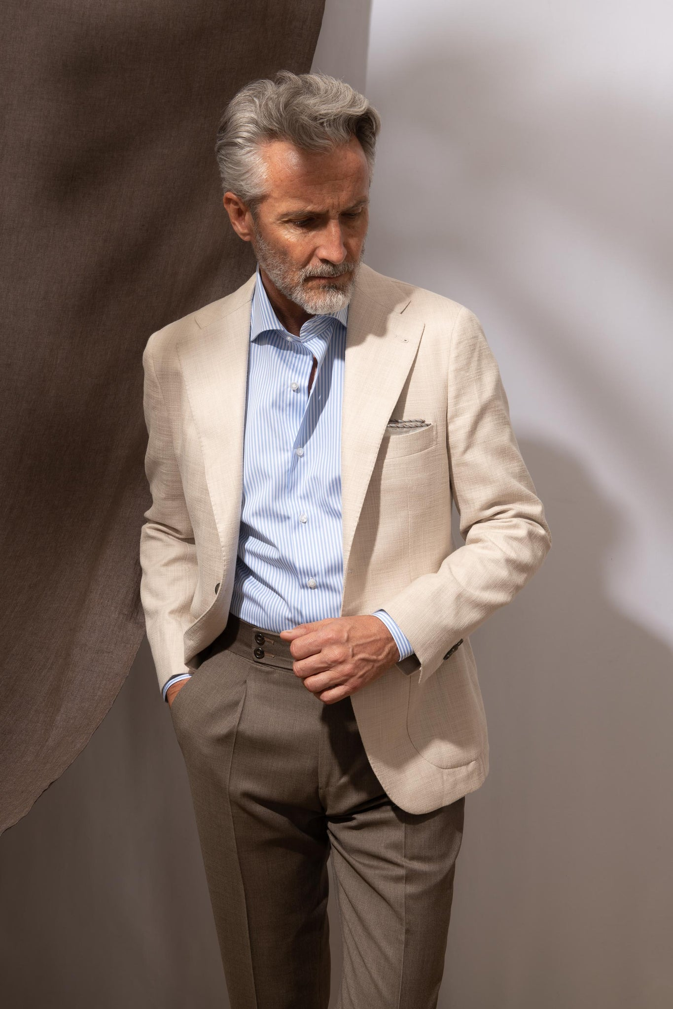 Beige jacket in Loro Piana fabric - Made in Italy