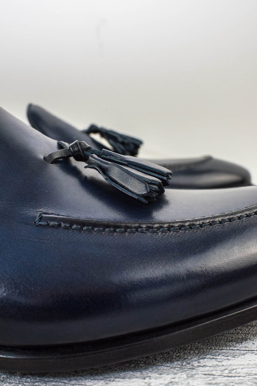 blue tassel loafer leather mocassin