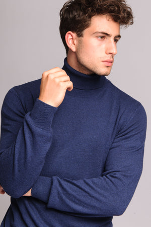blue turtlenek wool and cashmere made in italy italian style