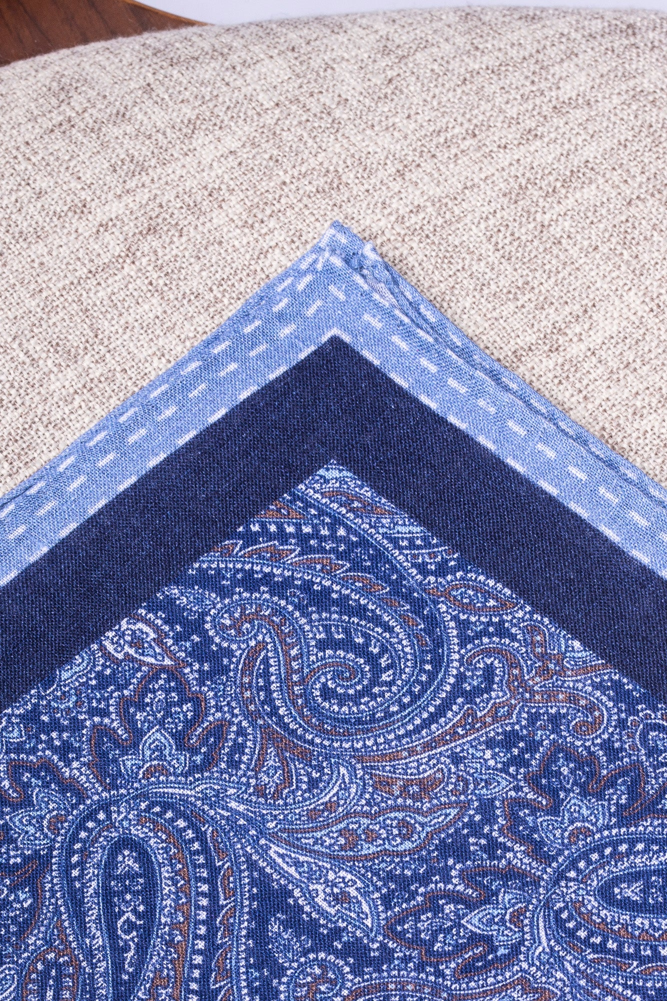 Blue printed linen pocket square  - Made in Italy