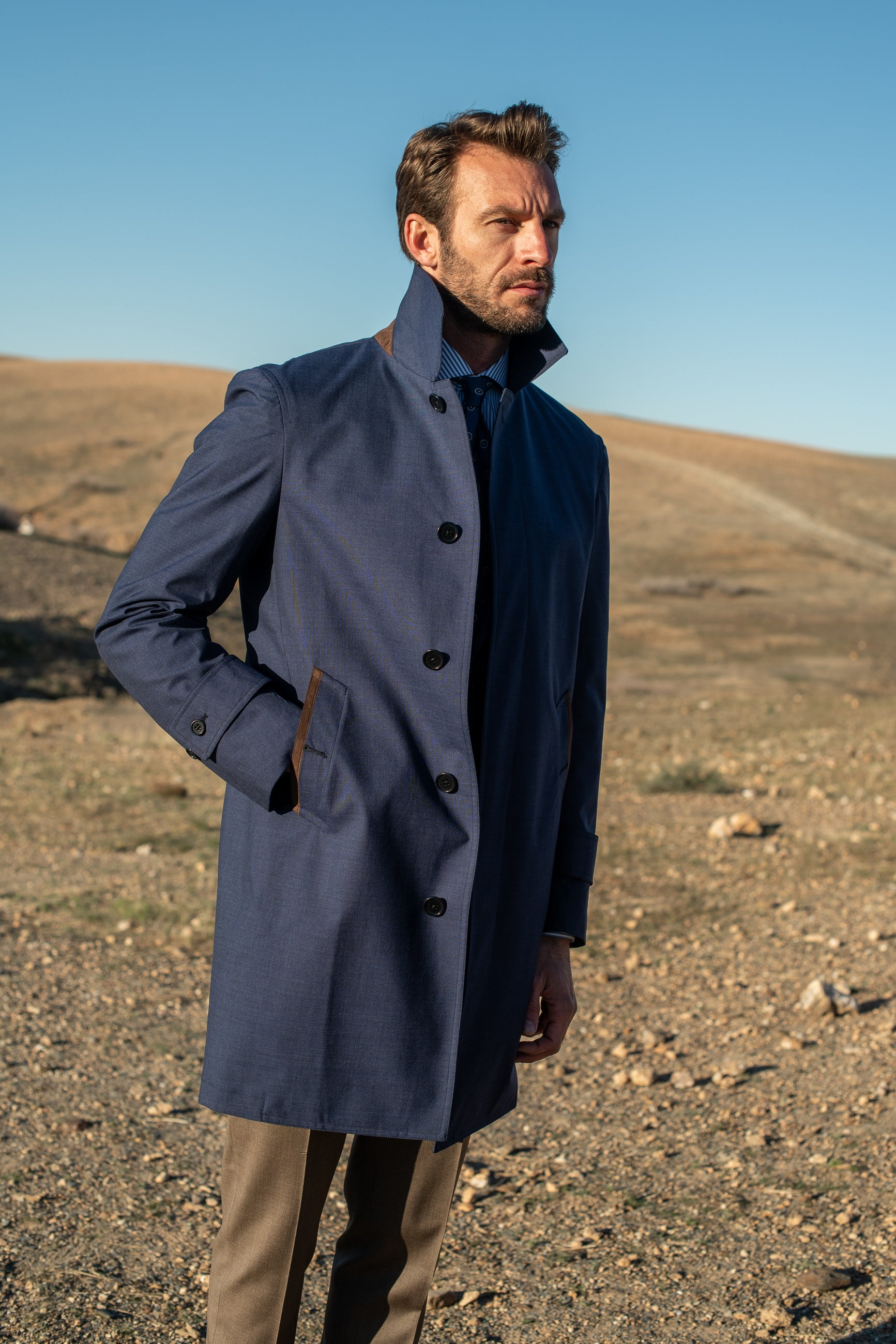 Blue raincoat - Made in Italy