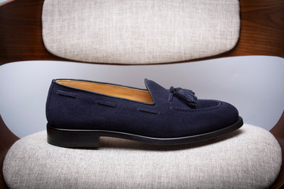BLUE SUEDE TASSEL LOAFER - Made In Italy