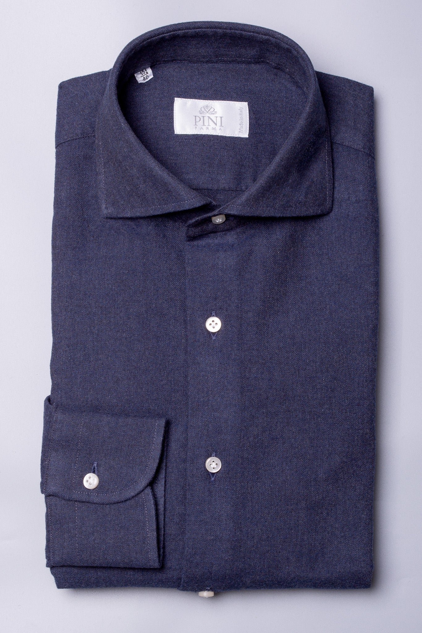 BLUE SHIRT - Flannel Touch - Made in Italy