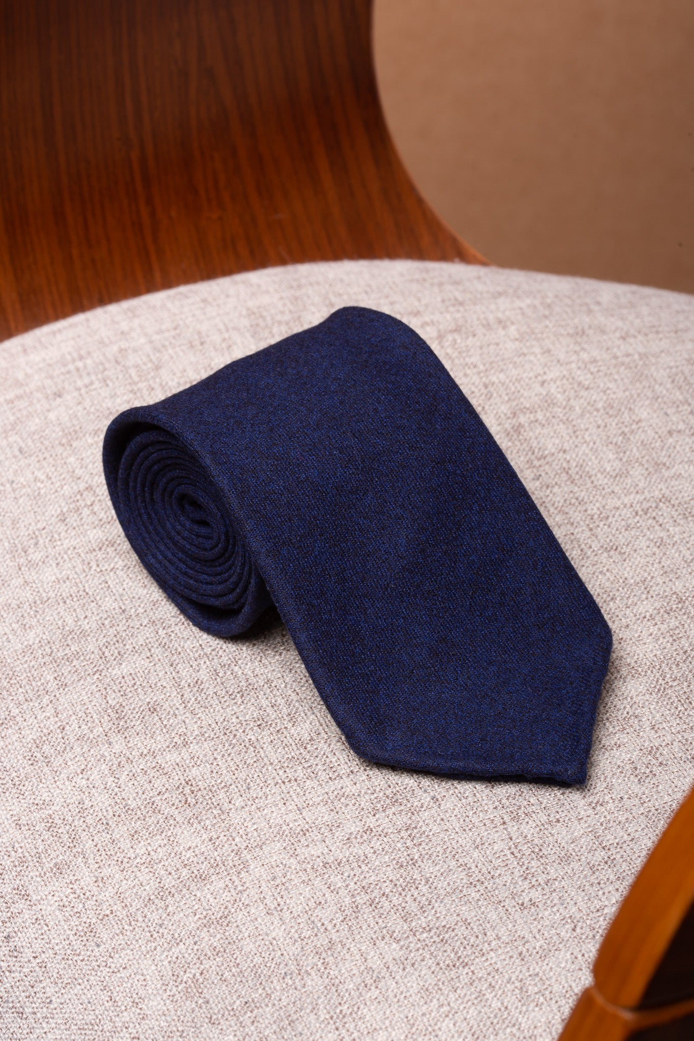 Blue flannel tie - Hand Made In Italy