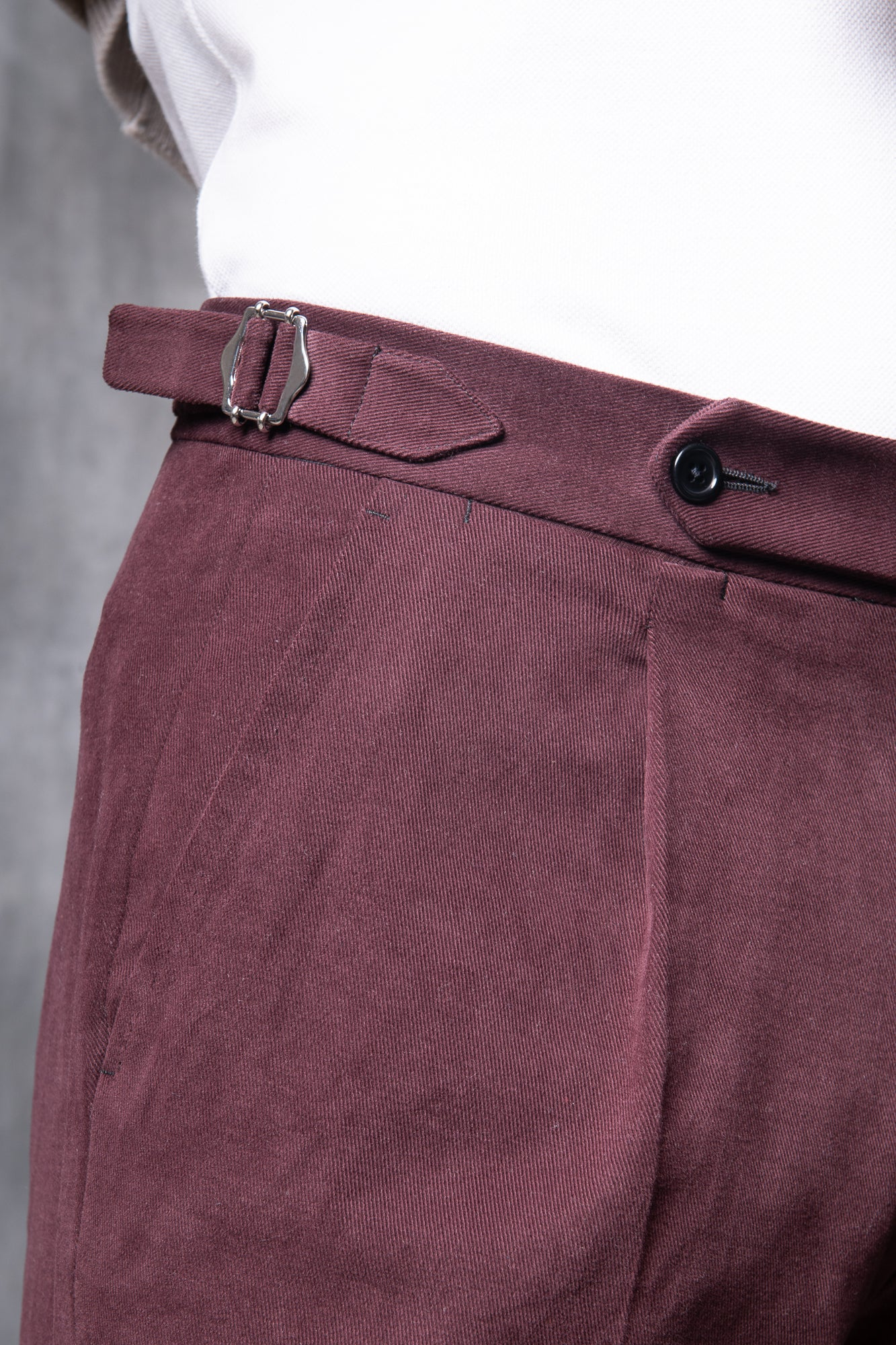 Bordeaux Cotton Biella Trousers  - Made in Italy