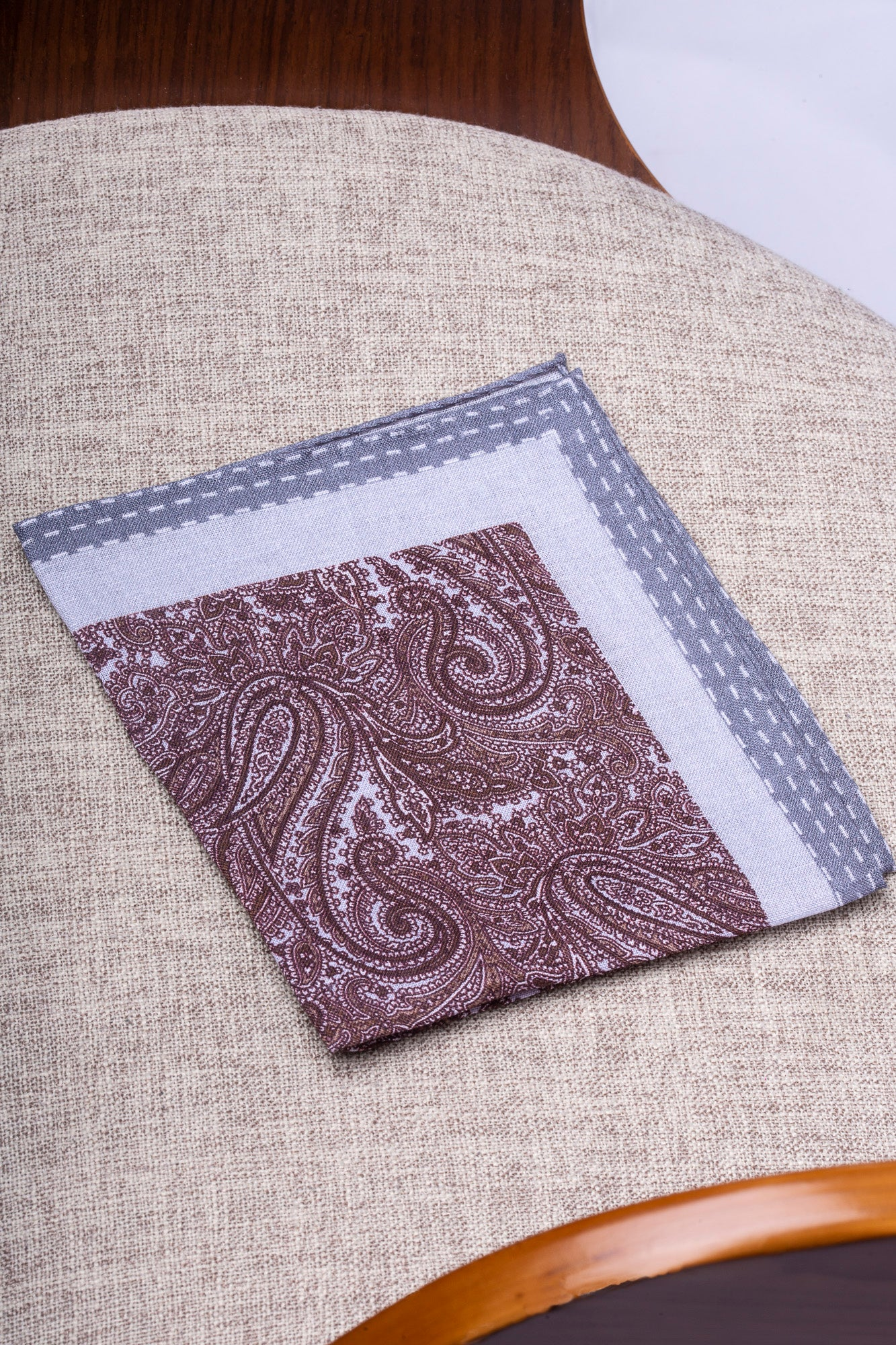 Brown and grey printed linen pocket square  - Made in Italy