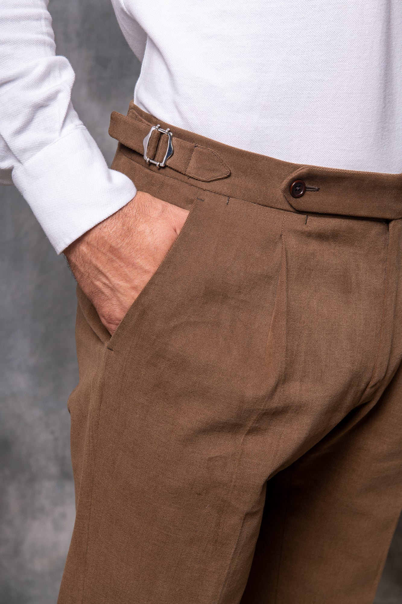 Brown Cotton Biella Trousers  - Made in Italy