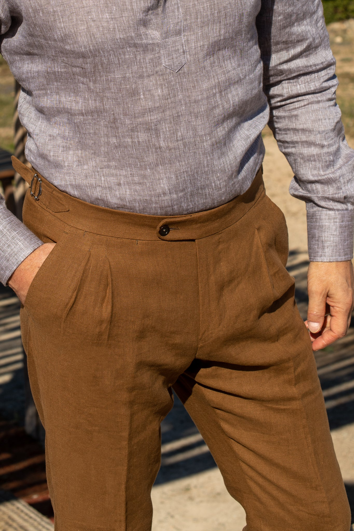 Brown Linen Trousers / Double pleat  - Made in Italy