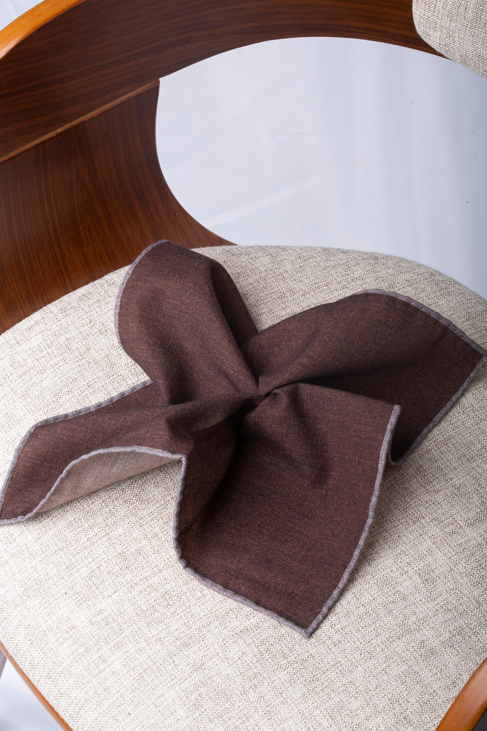 Brown reversible pocket square with grey edges - Hand Made in Italy