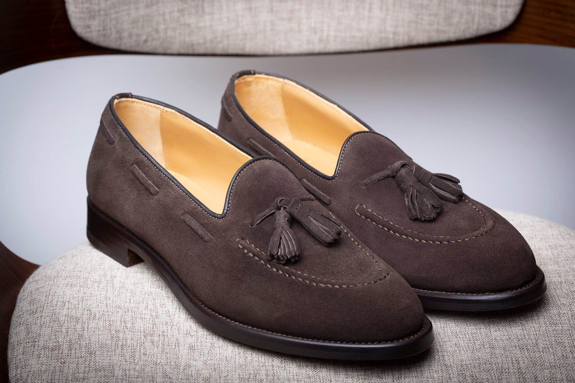 BROWN SUEDE TASSEL LOAFER - Made In Italy