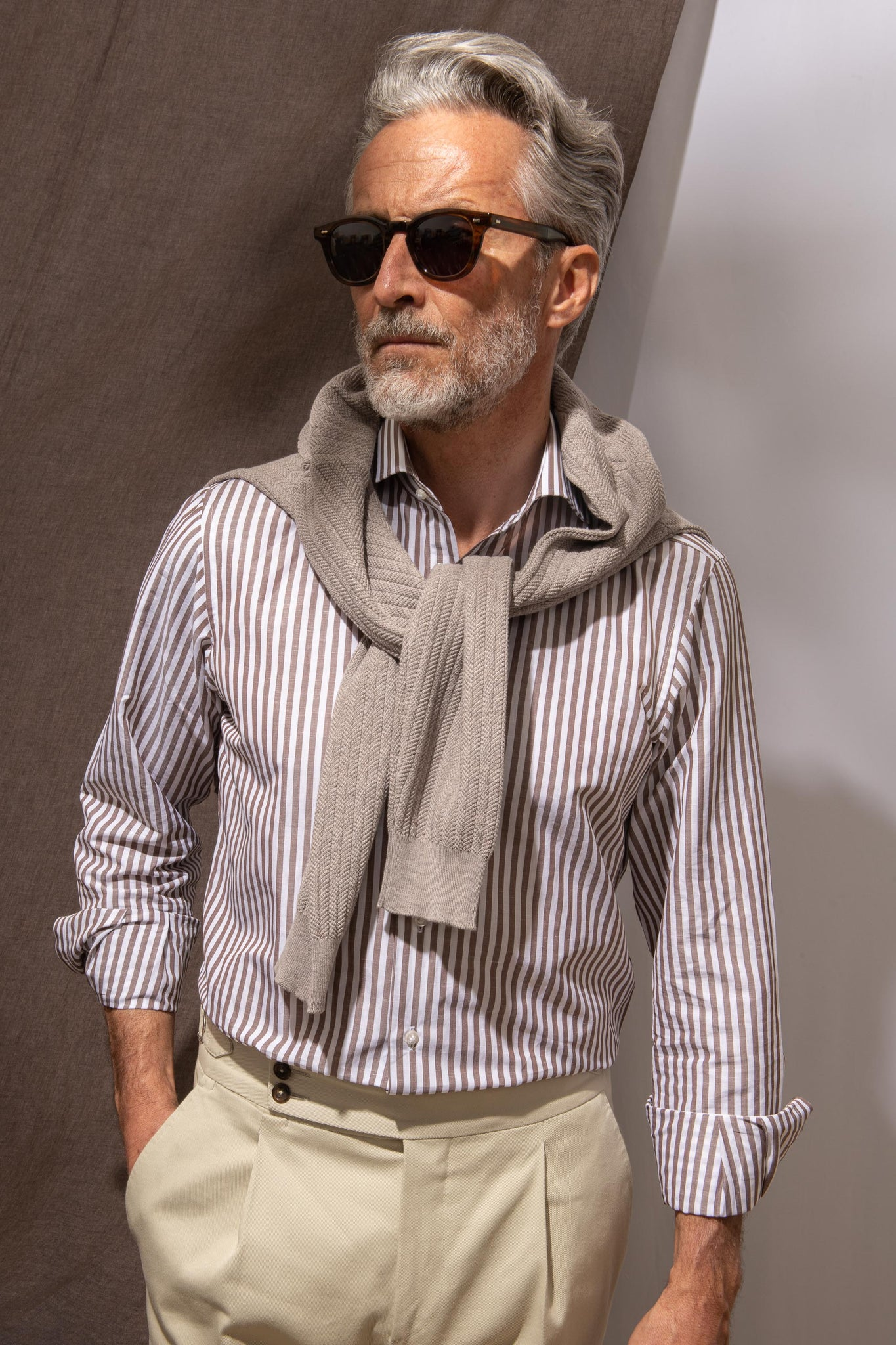 "Brown striped shirt ""Riviera collection""- Made in Italy"