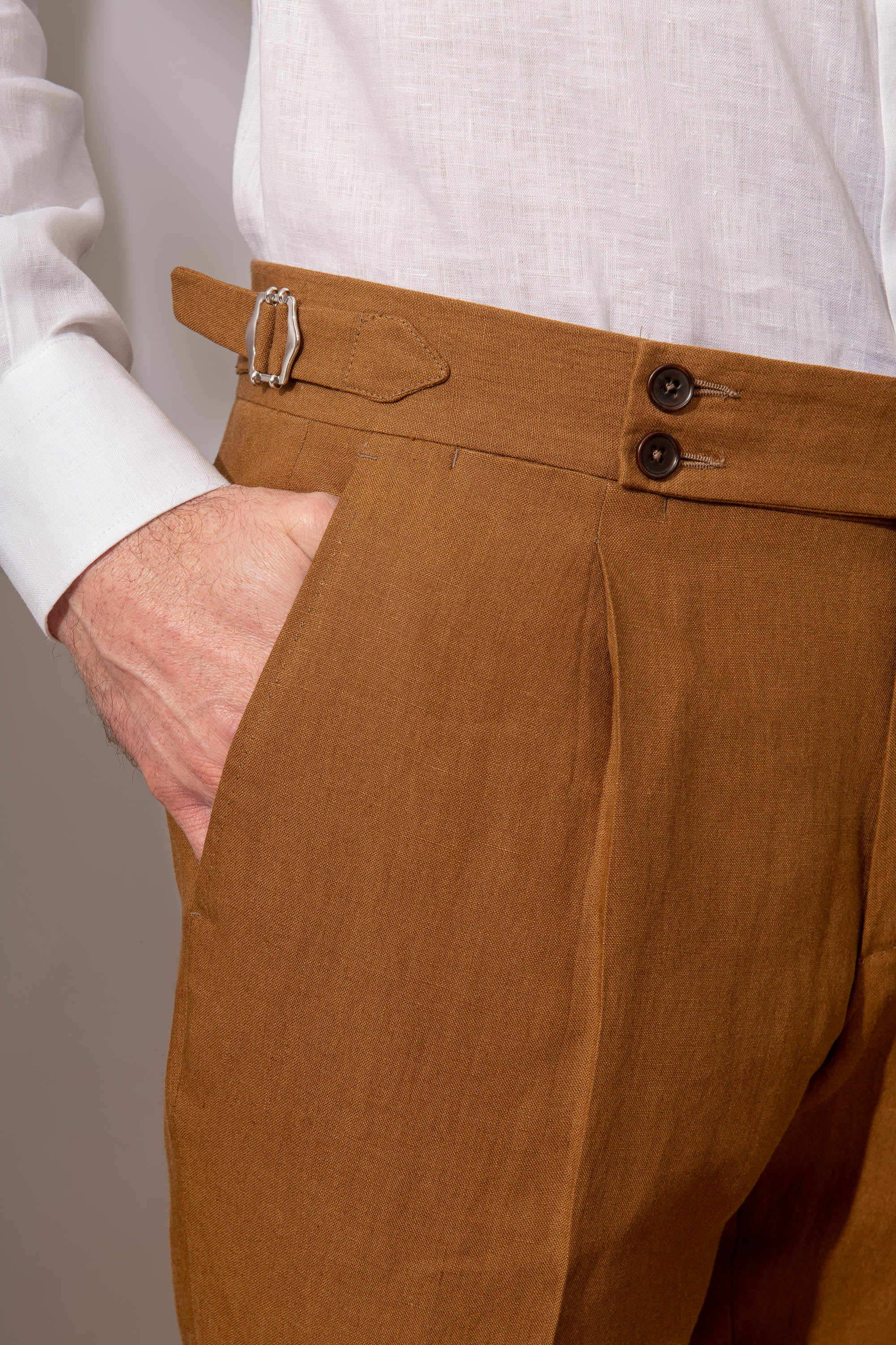 "Curry linen trousers ""Soragna Capsule Collection"" - Made in Italy"