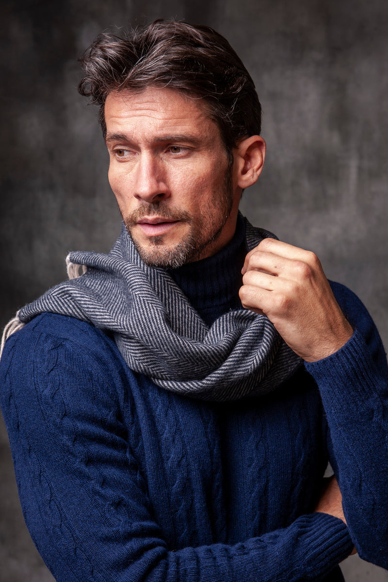 DARK BLUE HERRINGBONE SCARF - Made in Italy