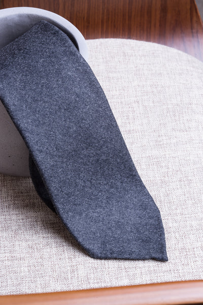Dark grey flannel tie - Hand Made In Italy