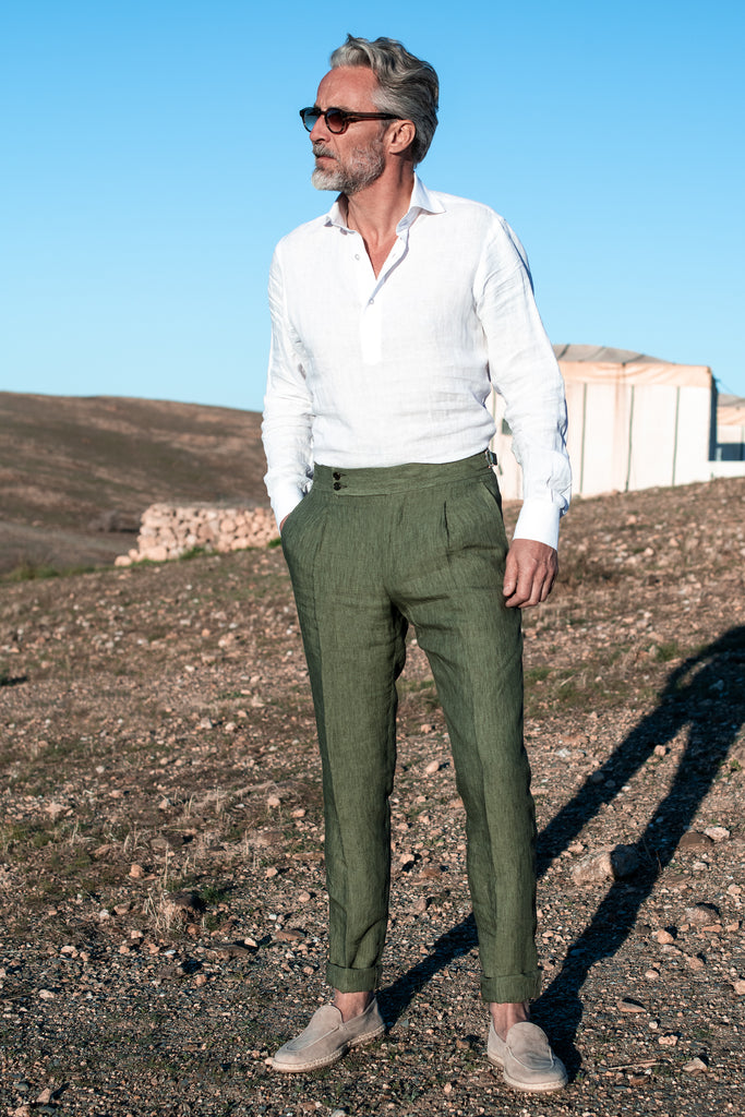 "Green linen trousers ""Soragna Capsule Collection"" - Made in Italy - PREORDER"