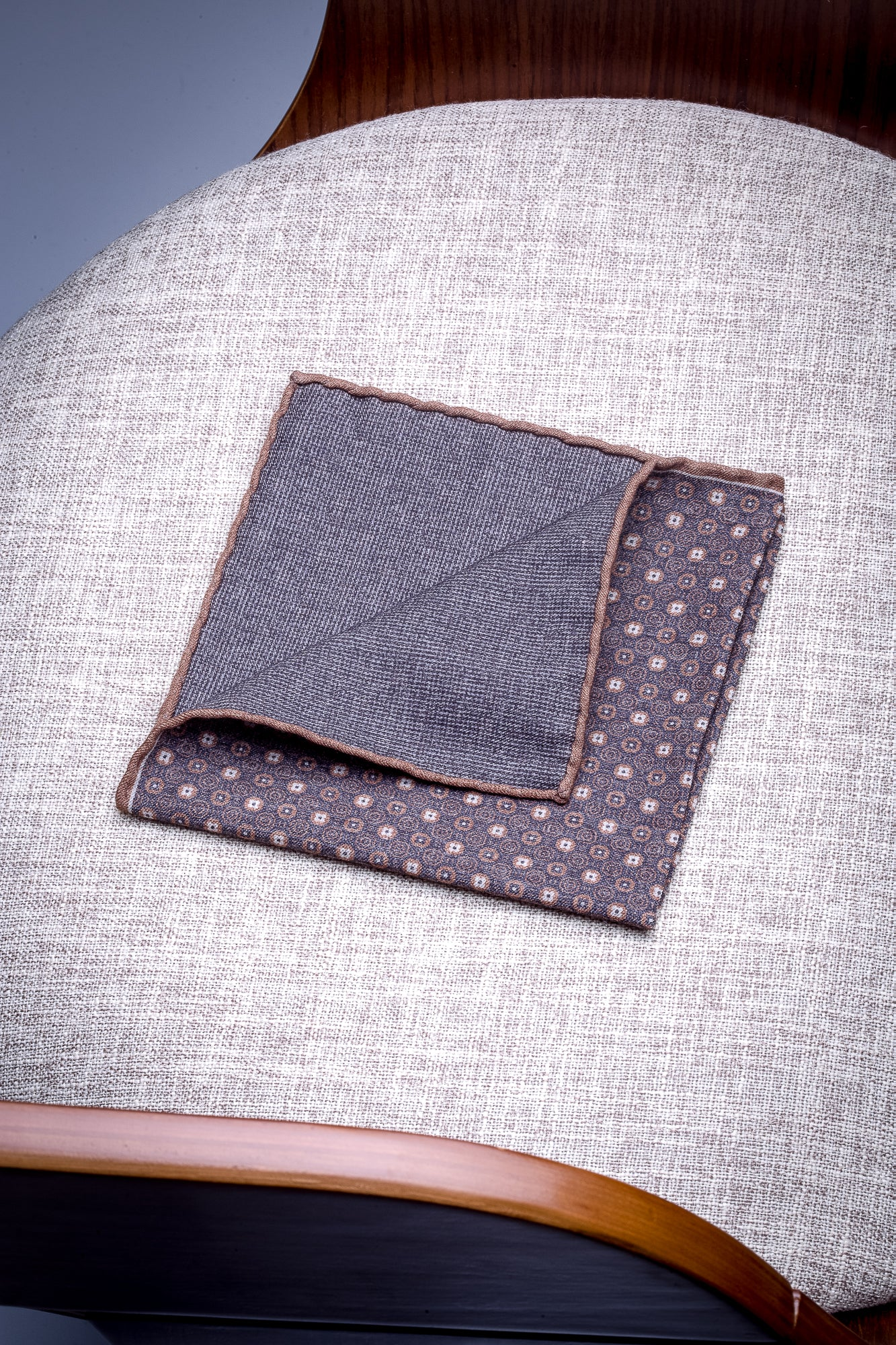 Grey and tobacco microfancy reversible pocket square - Hand Made in Italy