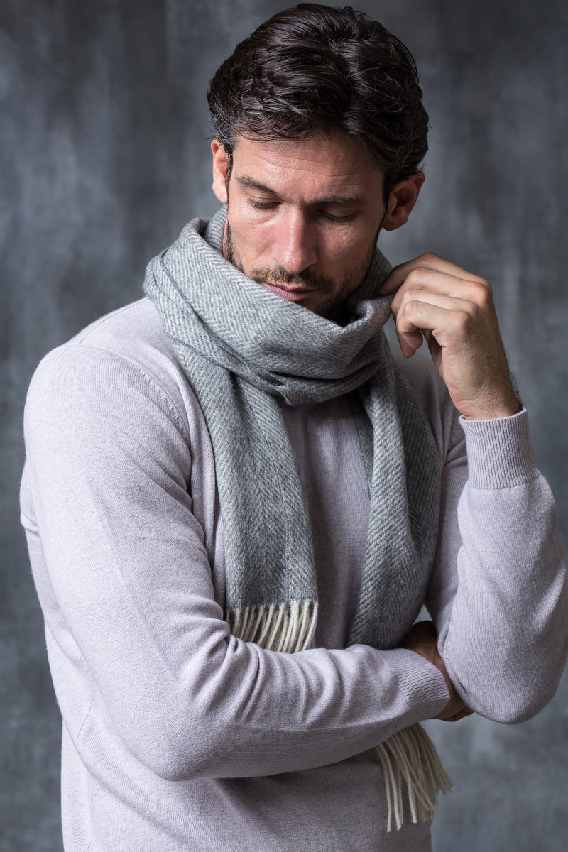 GREY HERRINGBONE SCARF - Made in Italy