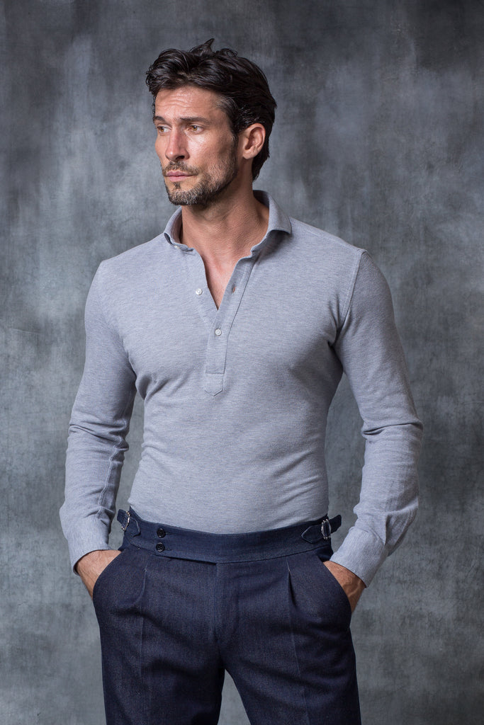 Grey popover polo shirt - Made in Italy