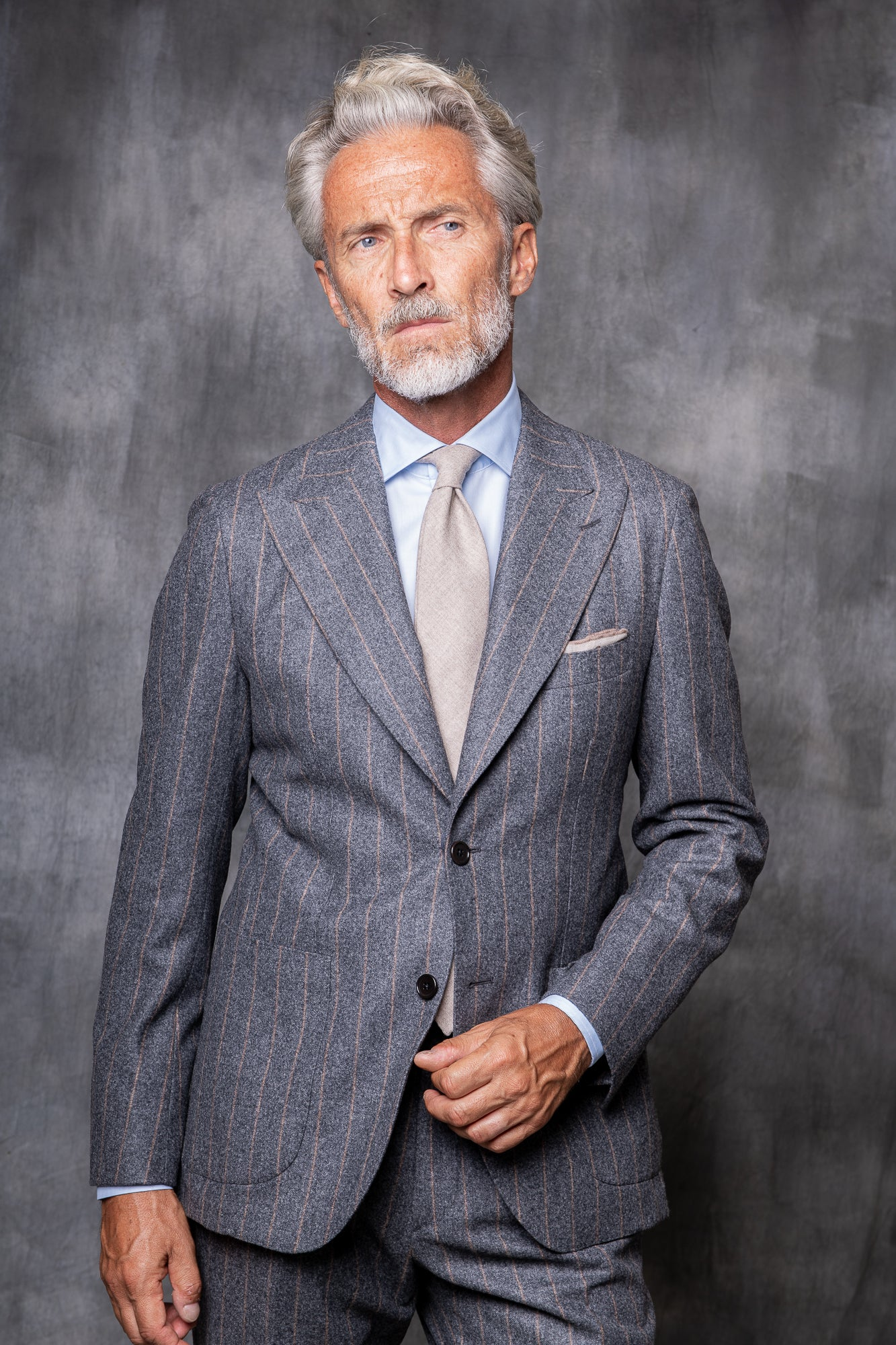 "Grey and Beige stripe flannel Suit ""Soragna Capsule Collection"" - Made in Italy"