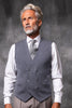 Grey Double-Breasted Merino Wool Knitted Waistcoat - Made in Italy