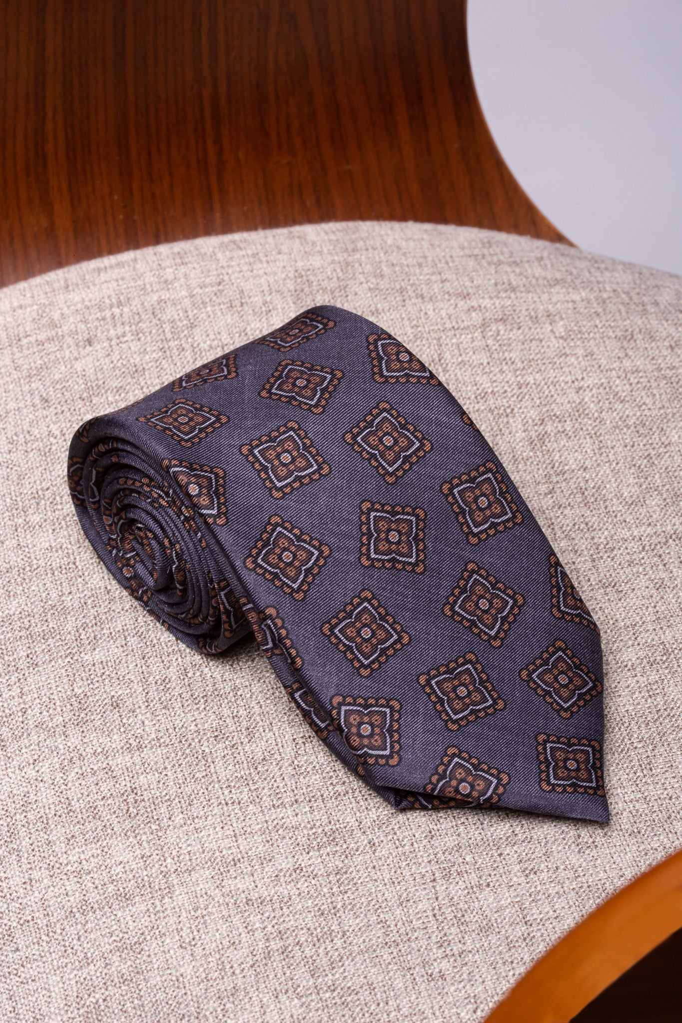 Grey and brown fancy silk tie - Hand Made In Italy