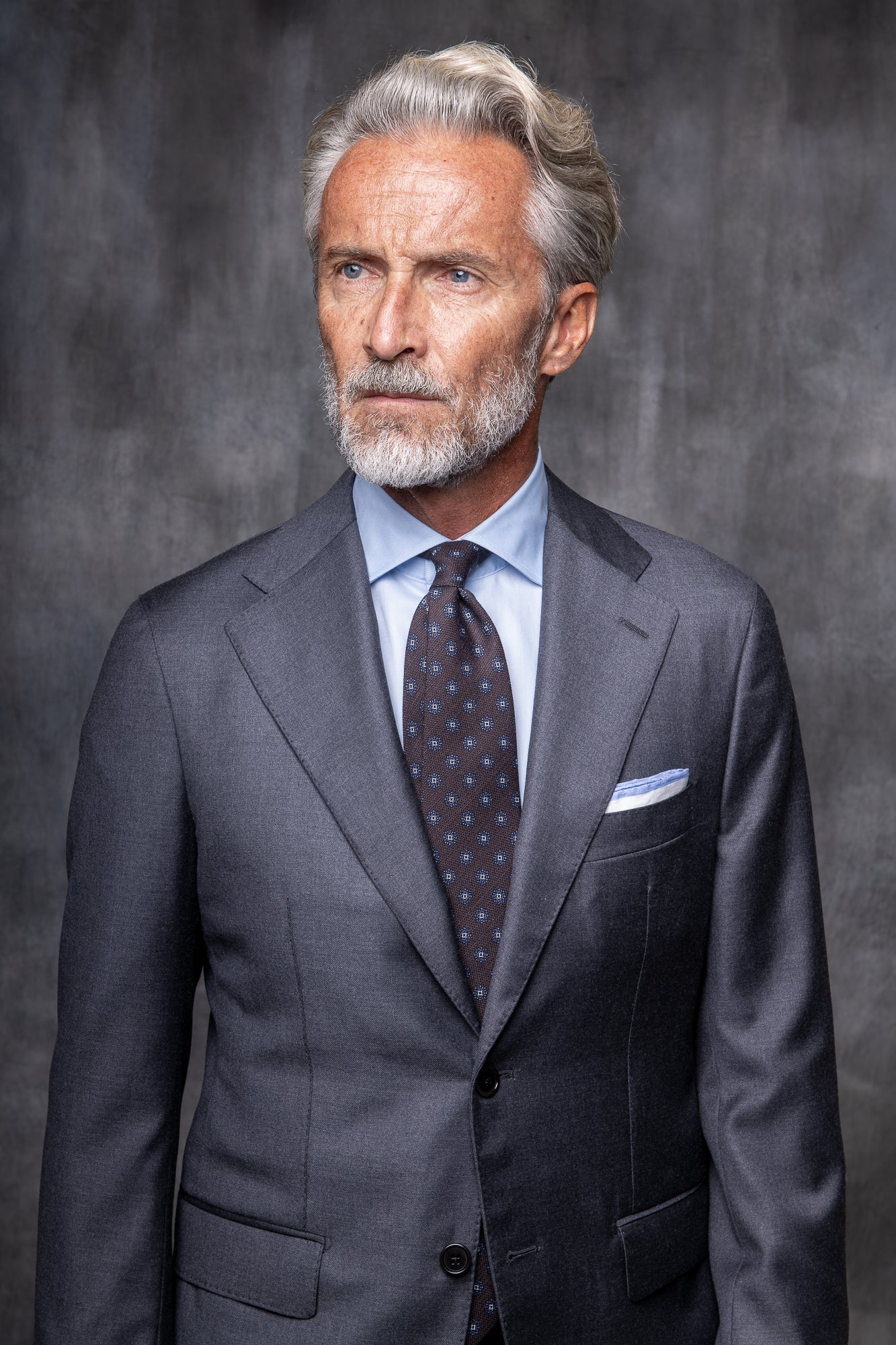 GREY FULL CANVAS SUIT IN LORO PIANA WOOL - Made in Italy