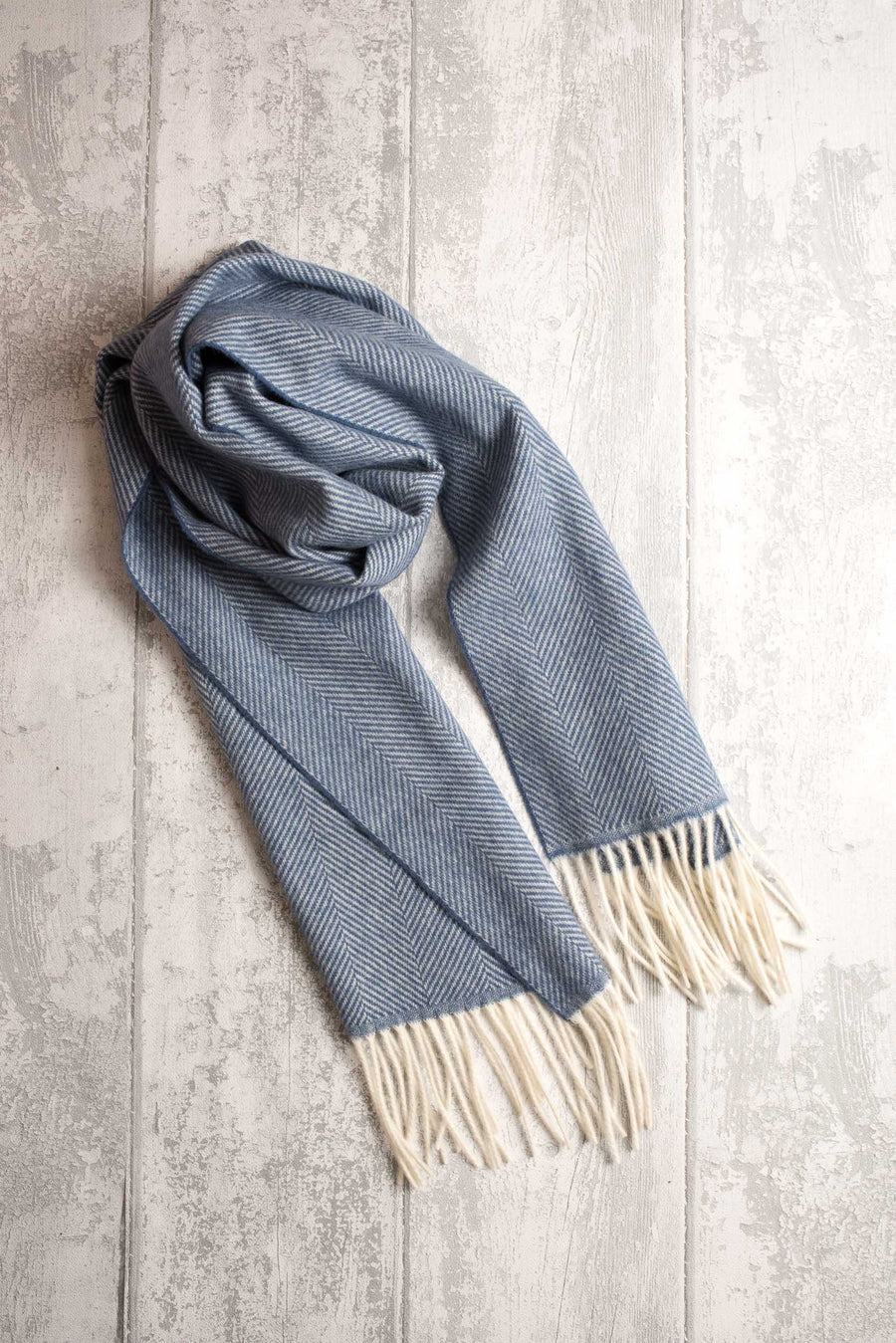 herringbone blue wool scarf details view Made in Italy
