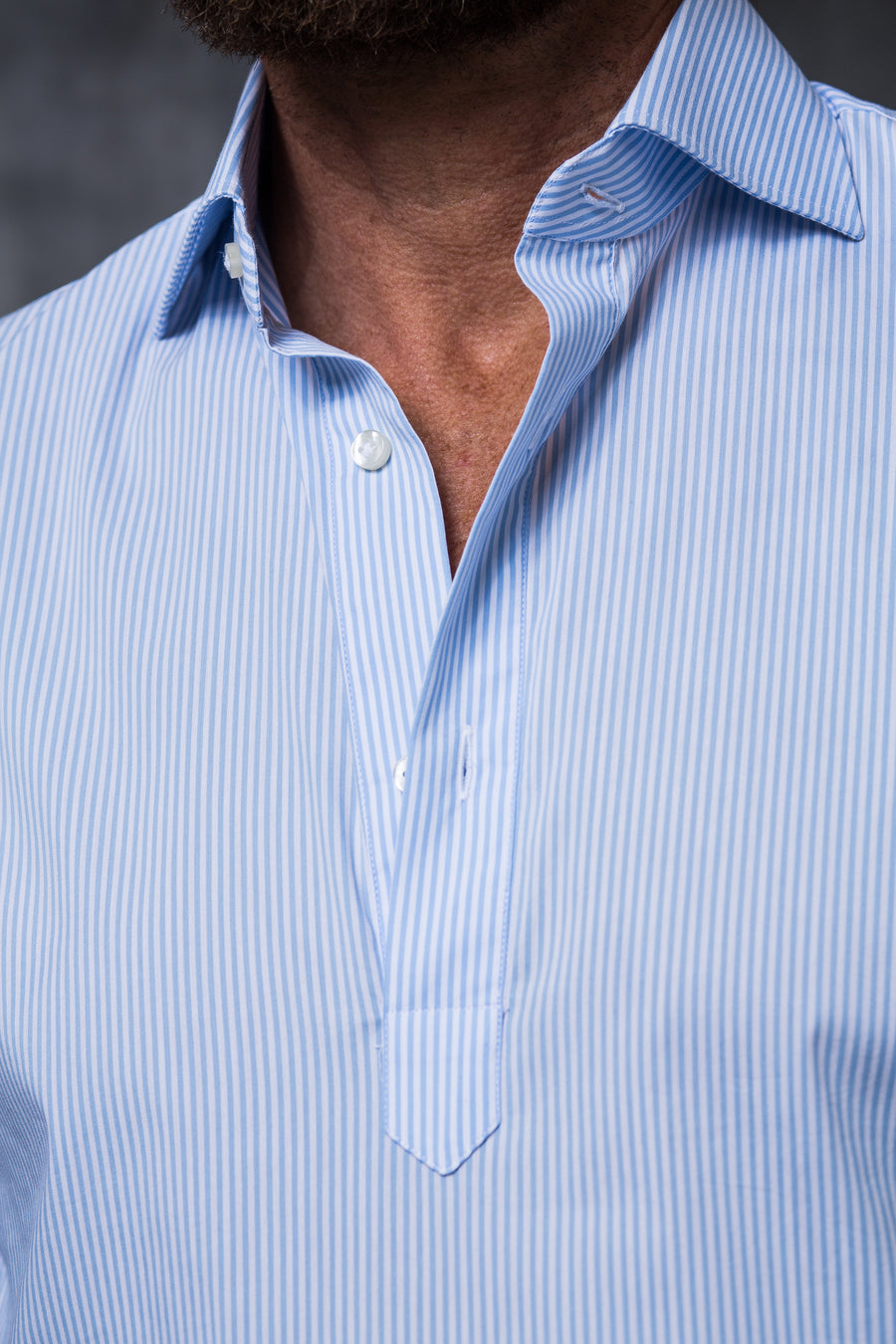 LIGHT BLUE STRIPED POPOVER SHIRT - Made in Italy