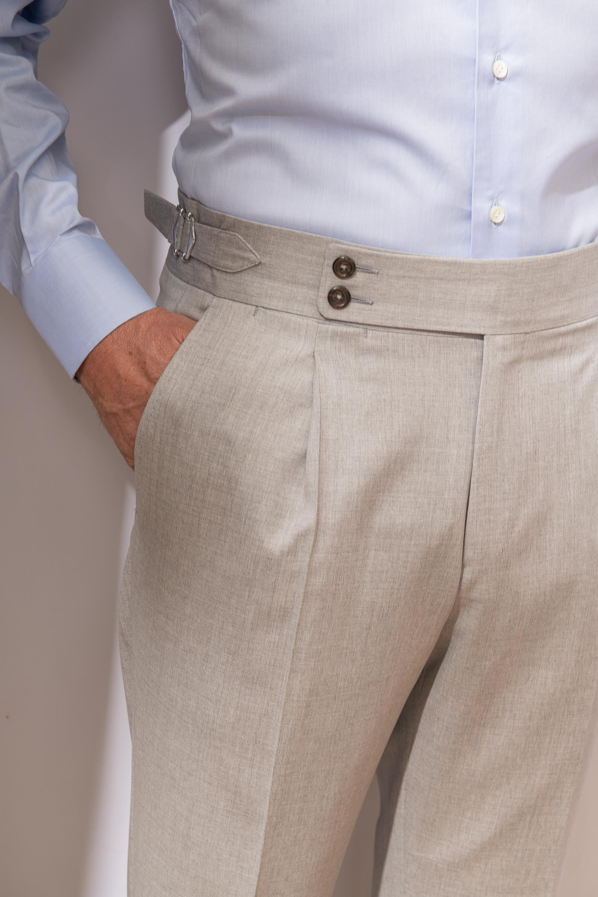 "Light Grey Trousers  ""Soragna Capsule Collection"" - Made in Italy"
