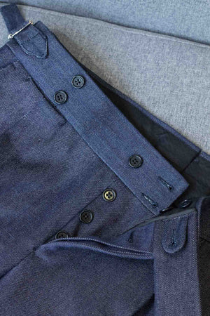 Luxury Denim Trousers gurkha trousers belt details
